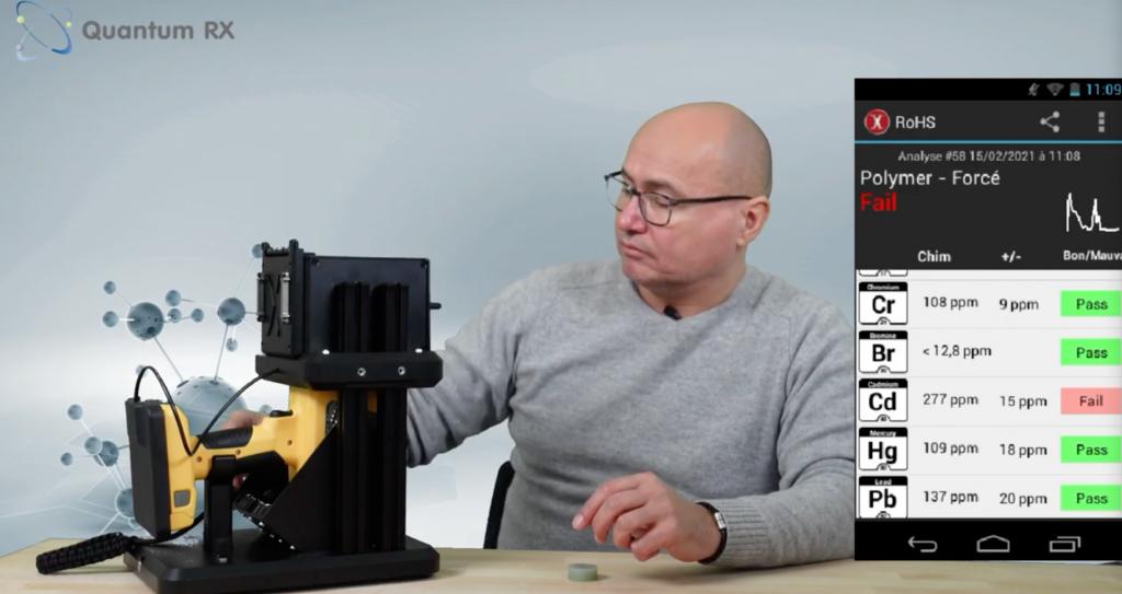 Quantum-RX présente l'application ROHS avec le XRF X-50 et son stand de mesure !